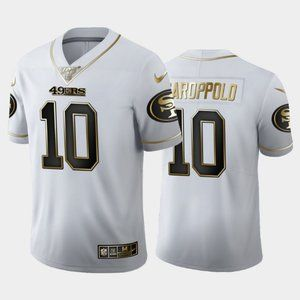 49ers #10 Jimmy Garoppolo White Golden Jersey 100t